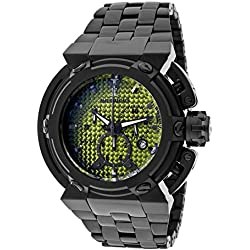 Imperious Imp1037 Men's X-Wing Chronograph Yellow Carbon Fiber Dial Black Ip Stainless Steel Watch
