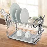 "Modern Kitchen 22"" Stainless Steel 2-Tier R Shaped Dish Drying Rack and Draining Board - Organized Utensil Holder, Mug Dryer, Fits Large Plates, Travel Mugs, and More - Quick Dry with Drip Tray"