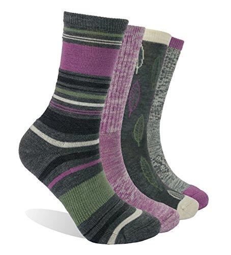 Enerwear 4 Pack Women's Merino Wool Outdoor Hiking Trail Crew Sock (US Shoe Size 4-10½, Violet/Gray/Multi) by Enerwear