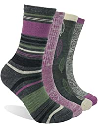 4 Pack Women's Merino Wool Outdoor Hiking Trail Crew Sock
