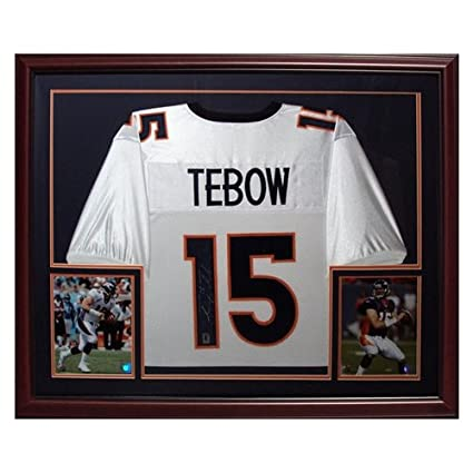 official photos 0347f a01b1 Tim Tebow Autographed Denver Broncos (White #15) Deluxe ...