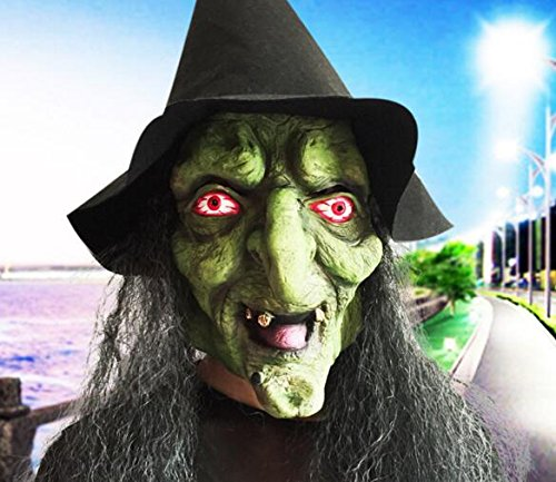 (Long Hair Halloween Scary Witch Face Mask with Hat for)