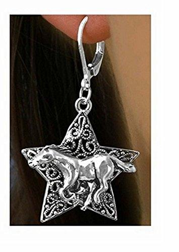 Decorative Western Star & Horse Euro Wire Earrings