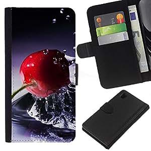 JackGot ( Cesto di frutta ) Sony Xperia Z1 L39 la tarjeta de Crédito Slots PU Funda de cuero Monedero caso cubierta de piel