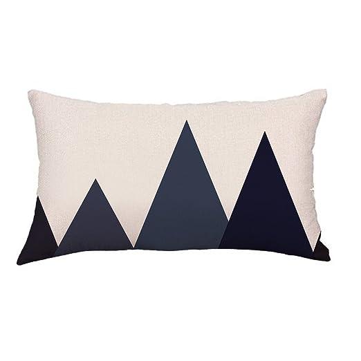 Loolik Fundas de Cojines,Rectángulo Negro y Gris Throw Pillow Case Funda de Almohada para Cojín 30 x 50 CM (B)