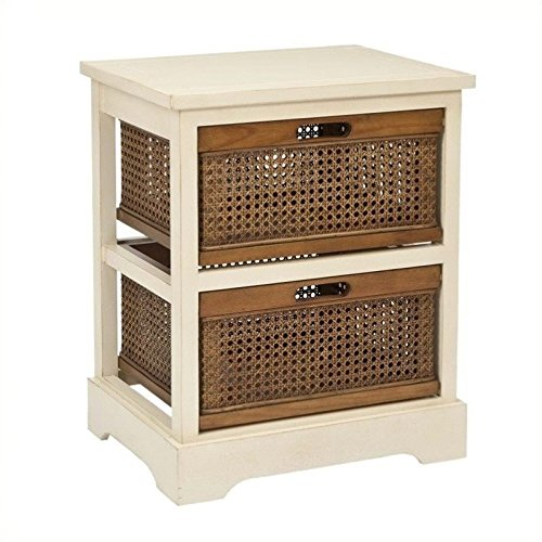 2-Drawer End Table in White - Trunk Bombe Table