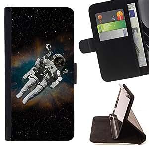 BullDog Case - FOR/HTC One M9 / - / Astronaut Cosmonaut In Space /- Monedero de cuero de la PU Llevar cubierta de la caja con el ID Credit Card Slots Flip funda de cuer