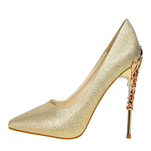 Manyis Mujeres Sexy Zapatos De Fiesta Tacones De Aguja Con Punta De Tacones Altos Bombas De Satén Zapatos De Metal Color Glod Talla: Us5