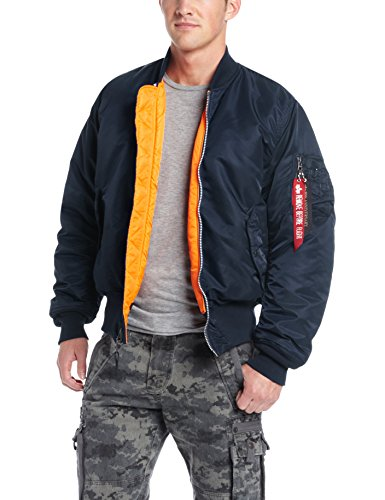 Reversible Nylon Sweater Jacket - Alpha Industries Men's MA-1 Flight Jacket, Replica Blue, M