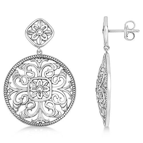 14k White Brooch (Women's Filigree Design Drop Earrings in Plain Metal 14k White Gold)
