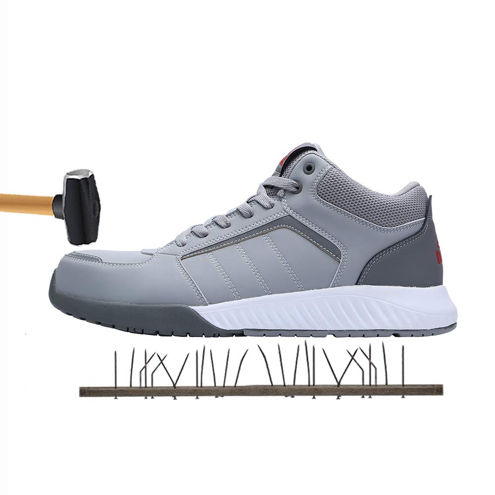 Unisex Steel Toe Work Shoes Industrial&Construction Shoes Puncture Proof Safety Shoes (man 5.5/women 8, 72012 grey) by PEAK (Image #2)
