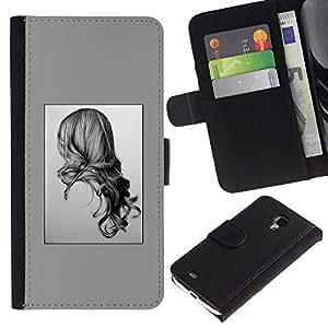 KLONGSHOP / Tirón de la caja Cartera de cuero con ranuras para tarjetas - Drawing Pencil Art Long Hair Girl Portrait - Samsung Galaxy S4 Mini i9190 MINI VERSION!