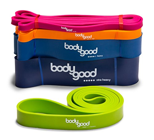 BodyGood Pull Up Assist Resistance Bands. Heavy-Duty Elastic Exercise Band for Training, Stretching, and Mobility Workouts. SET or SINGLE BAND. Comes with Free Instructional Video.