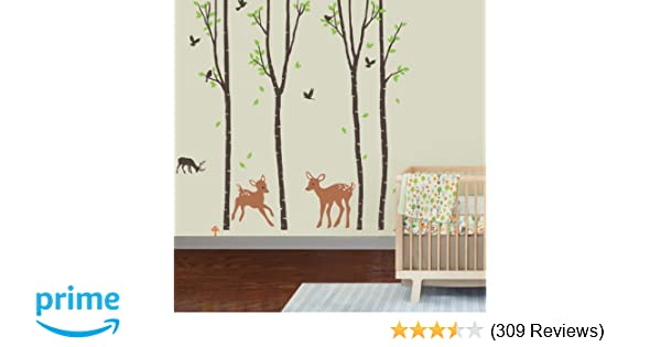 5bdaa1694a Amazon.com: Giant Wall Sticker Decals - Birch Tree Forest with Deers and  Flying Birds Baby (trees are 6 feet tall): Home Improvement