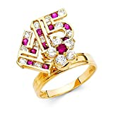 14k Yellow Gold CZ 15 Anos Quinceanera Motion Ring Spinner