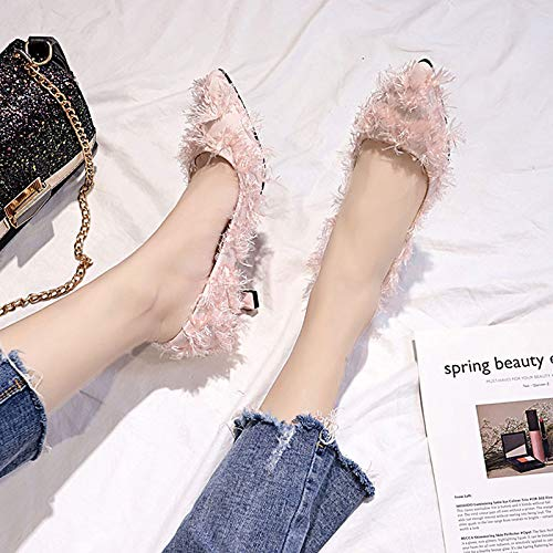 QOIQNLSN De Kitten De Bomba Zapatos Beige Negro Heel De Mujer Rosa Básica Toe Verano Algodón Señaló Pink Tacones qcqRrUv