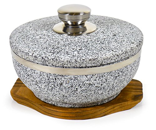 (Spiceberry Home Large Granite Dolsot/Haradha Bowl with Lid, 1 Quart)