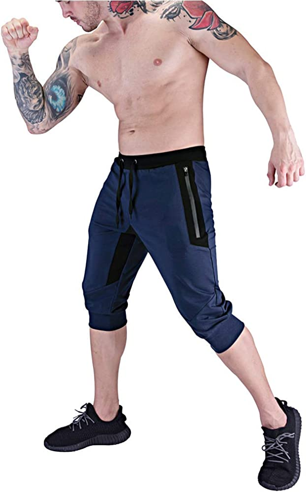 BUXKR Mens 3//4 Jogger Pants,Capri Shorts with Zipper Pockets for Gym and Workout