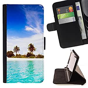 Momo Phone Case / Flip Funda de Cuero Case Cover - Blue Water White Sand;;;;;;;; - Samsung Galaxy Note 4 IV
