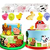 Set of 4 JeVenis Farm Animal Cake Decoration Pig Fondant Mold Sheep Mold Cow Mold Sugar craft Cupcake Cake Projects for Farm Animal Baby Shower Birthday Party Decorations