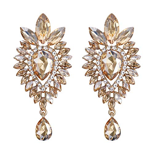 BriLove Women's Tribal Ethnic Crystal Teardrop Halo Chandelier Dangle Earrings Champagne Gold-Toned