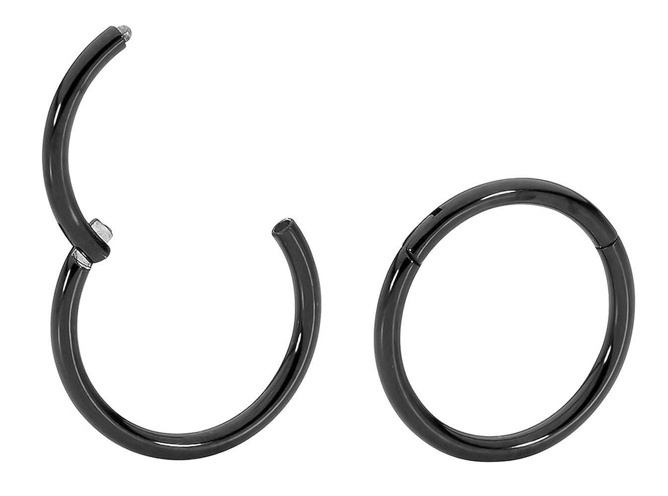 grosor del 18 Pendientes de aro fino de titanio diferentes medidas 365/Sleepers para orejas o agujeros en otras partes del cuerpo