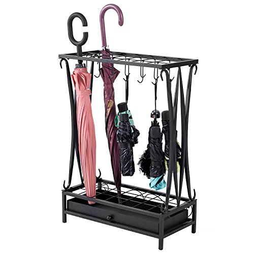 Modern Black Metal Umbrella Stand Holder Storage Rack with Removable Base Drip - Stand Umbrella Rack