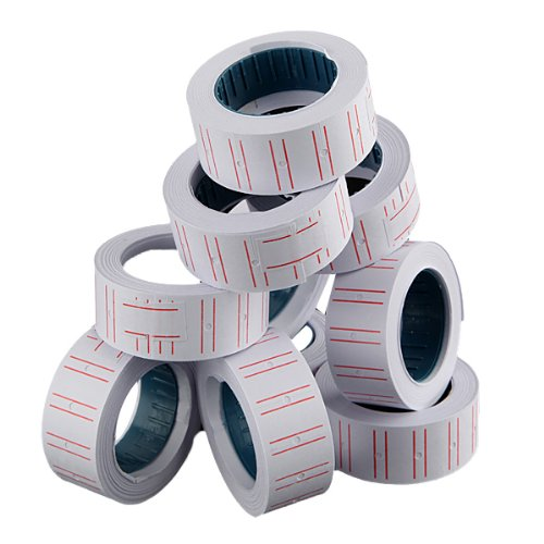 ThanaphatShop New 10 Rolls Label Paper For MX 5500 Price Gun Labeller Paste Adhesive Supermarket (Massager Qi)