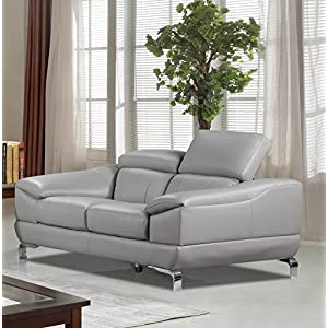 Cortesi Home Vegas Genuine Leather Sofa & Loveseat Set with Adjustable Headrests