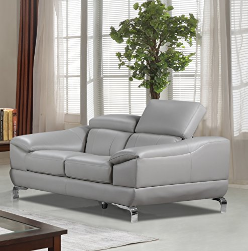 Cortesi Home Vegas Genuine Leather Loveseat with Adjustable Headrests, Grey (Leather Steel Loveseat)