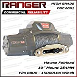 """Ranger 10"""" (254MM) Mount Aluminum Hawse Fairlead for Synthetic Winch Rope Cable Lead Guide for 8000-15000 LBs Winch Glossy (Sliver)"""