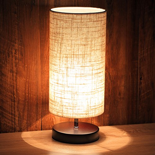 Ewalite Minimalist Romantic Solid Wood Table Lamp With Flaxen Fabric Shade Bedside Desk Lamp For Bedroom, Dresser, Living Room, Baby Room, College Dorm (Cylinder)