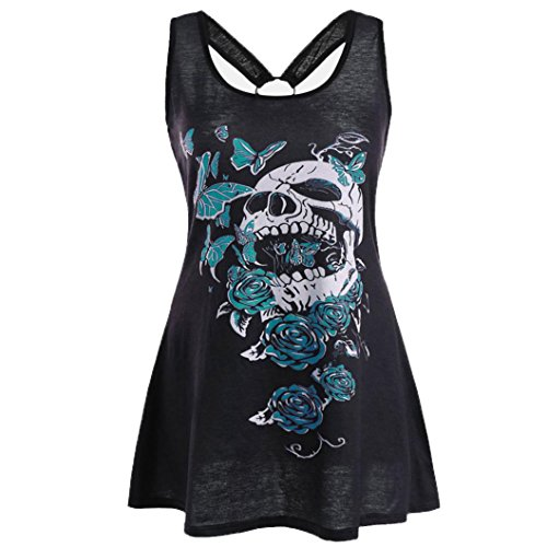 iLH Clearance Summer Tank Tops, ZYooh Women Plus Size Blouse Skull Butterfly Printed Tunic Sleeveless Vest Pencil Dress (XXL, Green)