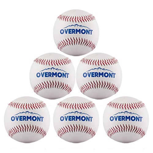 Synthetic Leather Baseball (Overmont 6pcs Softball Baseball Softball Synthetic Leather, White)