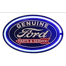 """Ford Genuine Parts and Service LED Sign, 16"""" Oval Shaped Sign, LED Light Rope That Looks Like Neon, Wall Decor for Man Cave, Garage, Bar"""