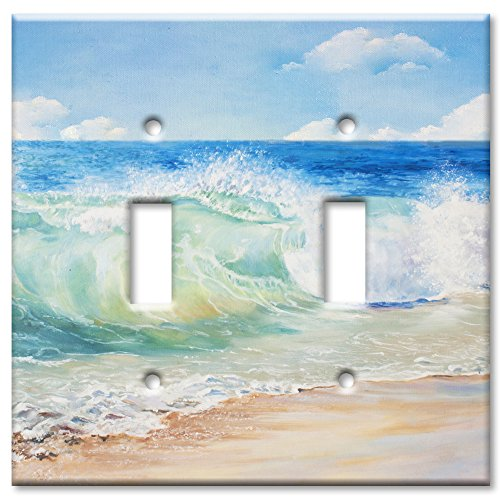 (Art Plates Brand Double Toggle Switch/Wall Plate - Beach Painting )