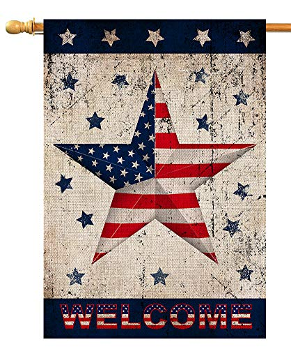 BLKWHT 4th of July Vintage House Flag Memorial Independence Day Vertical Double Sided 28 x 40 Inch Patriotic Star Yard Outdoor Decor