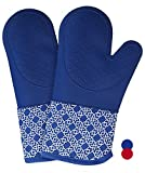 Heat Resistant Kitchen Oven Mitts 500 F With Non-Slip Silicone Cotton Set of 2,Oven Gloves and Pot Holder for BBQ Cooking Baking Grilling Barbecue Microwave Machine Washable for men women (Blue-Full)