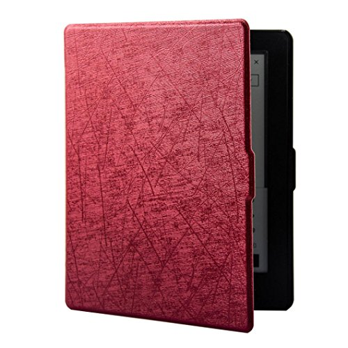 Price comparison product image Mchoice Light Weight Stand Folio Protector Cover Case with Auto Wake / Sleep Function for Kobo Aura H2O Edition 2 2017 6.8inch E-Reader (Red)