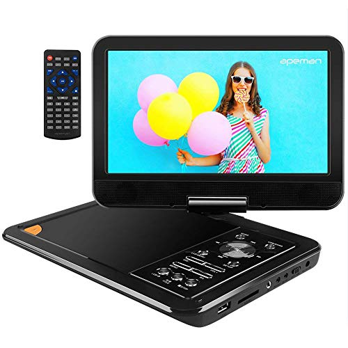 - APEMAN 9.5'' Portable DVD Player with Swivel Screen Remote Controller Support SD Card USB DVD AV in/Out Earphone Speaker 5 Hours Built in Rechargeable Battery for TV Kids Car Travel Companion