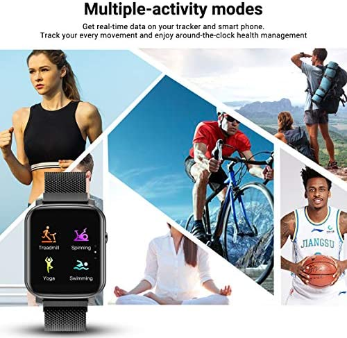 Anmino Smart Watch with Heart Rate Monitor BP Fitness Tracker IP68 Waterproof Activity Tracker Full Touch Screen Smartwatch Sleep Monitor Calorie Step Counter SMS Call Notification(Black Steel) 51dx1x8OfmL