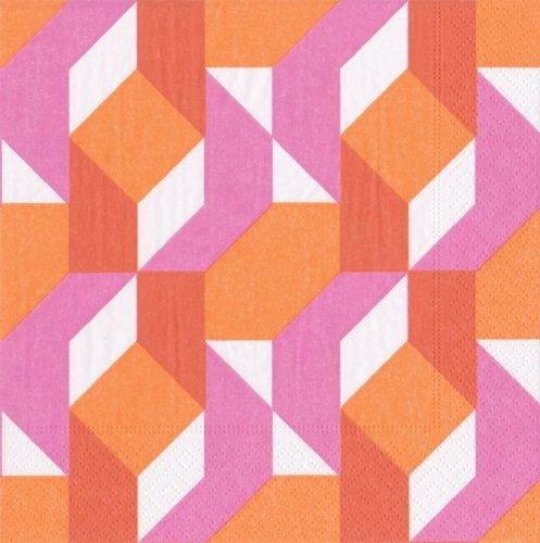 Caspari 13880L Color Theory Fuchsia Napkin Luncheon Multicolor