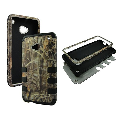 Hybrid Black Camo Hay HTC One / M7 Box Protector Case High Impact Shock Defender with Soft Silicone Drop Defender Phone Cover Case