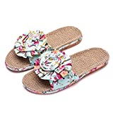 XINHAX Women Indoor Slippers, Summer Flax House Slippers Open-Toe Casual Sandals...