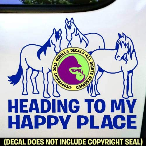HEADING TO MY HAPPY PLACE Horse Herd Love Rider Vinyl Decal Sticker A