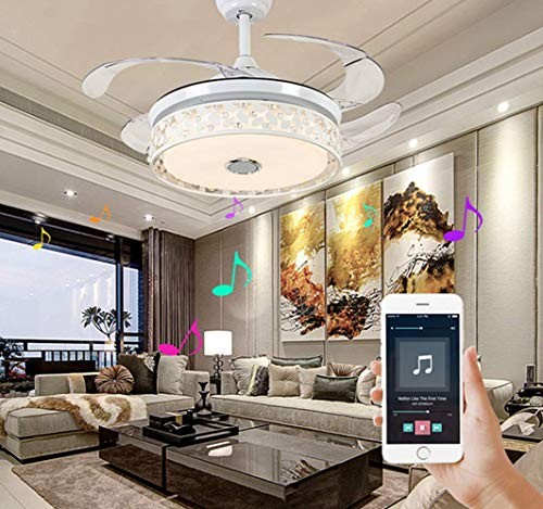 Vhouse 42-inch modern intelligent multimedia Bluetooth music player ceiling fan chandelier with 7 color lights adjustable stealth blade with remote control for home bedroom living room dining room dec