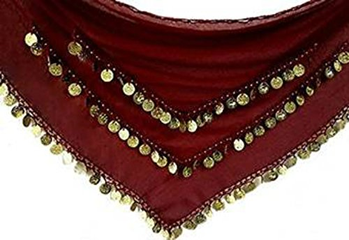 Turkish Belly Dancing Costumes - ADULT SIZE 8-18 BEAUTIFUL Triangle Jingly Shimmy Belly Dancing Coin Hip Belts Scarves (Maroon Gold)
