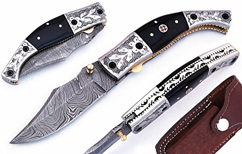 Noshra Wholesale Buffalo Horn Handle Damascus Steel Blade Folding Pocket Knife with Engraved Silver Bolster W/Case Plus Free Knife Sharpner ()