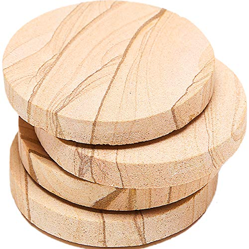 Absorbent Natural Coasters Sandstone (ENKORE Stone Coaster For Drinks Absorbent - Set of 4 Coasters, Natural Thirsty Absorbing Sandstone Body with Cork Backing No Holder, Oversize 4.1 inch Suits Large Mug & Wine Glass)