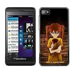 Smartphone Rígido Protección única Imagen Carcasa Funda Tapa Skin Case Para Blackberry Z10 Cute Anybody There Japanese Girl / STRONG
